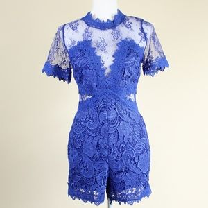 VENUS Lace Detail Romper, Blue